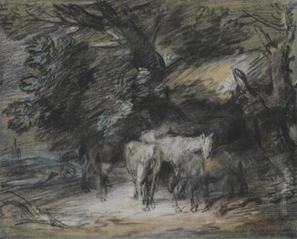Wooded Landscape with Peasant Asleep and Horses outside a Shed c.1775-80 by Thomas Gainsborough 1727-1788